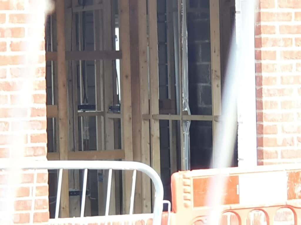 A timber frame inside a new construction home