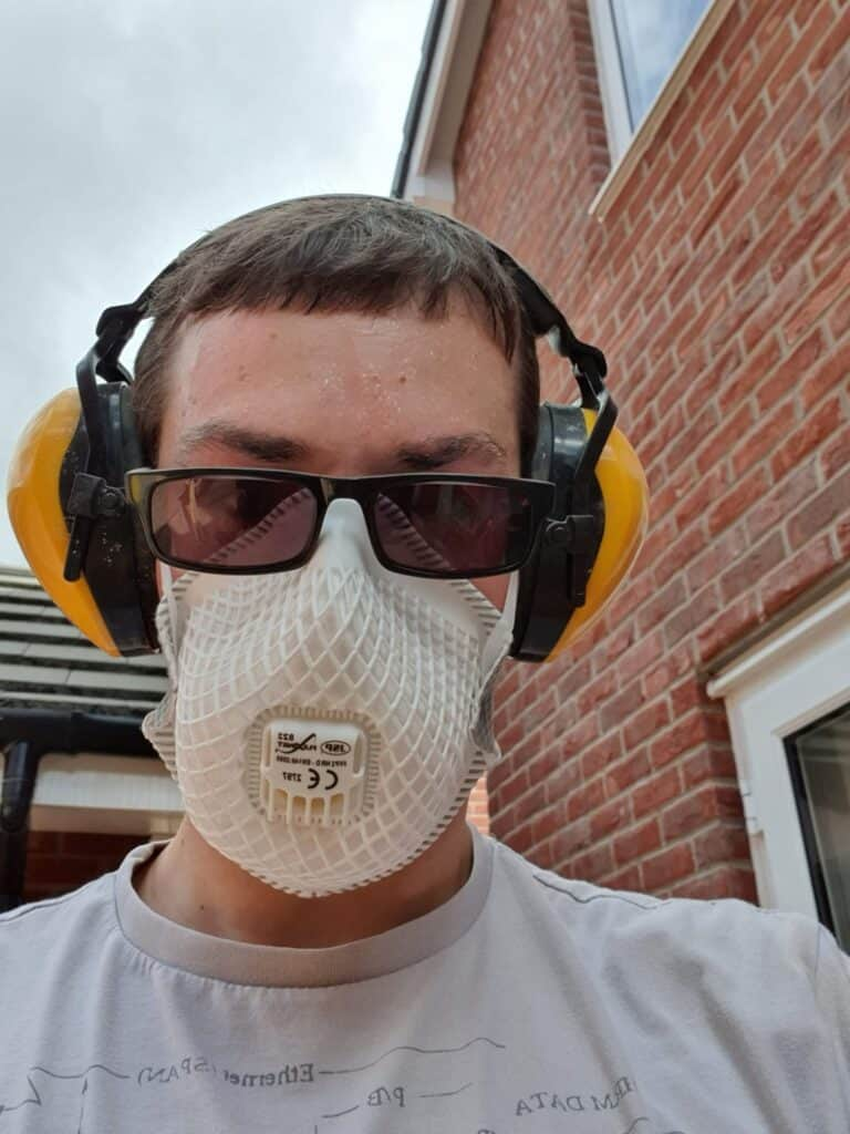Me wearing an FFP2 face mask and ear protectors PPE