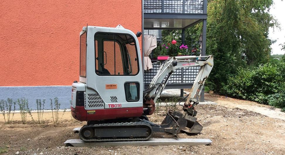 Mini excavator about to work