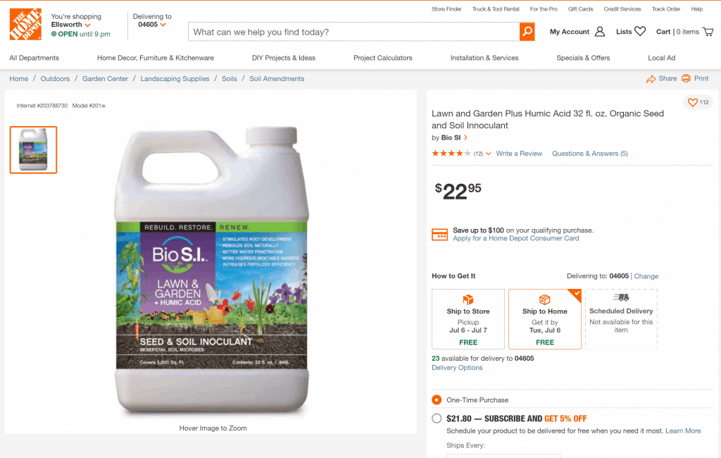 Humic acid sold in Home Depot