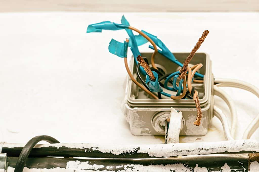 Dangerous electrical wiring in a junction box