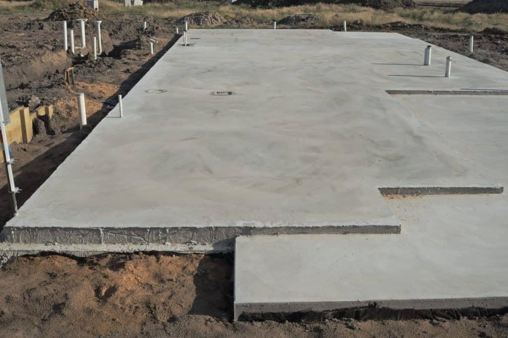 A fairly large concrete slab on a building site