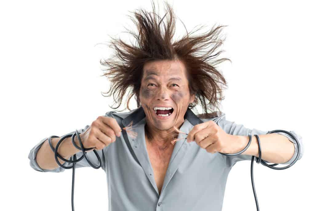 Someone having an electric shock